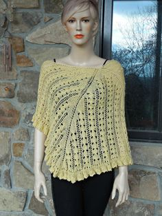 Yellow Lace Knitting Shawl by CasadeAngelaCrochet on Etsy