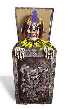 Animated Scary Jack in the Box Evil Clown Halloween Decoration Prop NEW