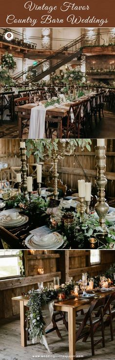 Top 37 Remarkable Rustic Wedding Centerpieces---vintage raw wood table with greenery Rustic Centerpieces, Rustic Wedding Centerpieces, Ceremony Decorations, Rustic Weddings, Country Weddings, Vintage Weddings, Centerpiece Ideas, Greenery Garland, Chic Wedding