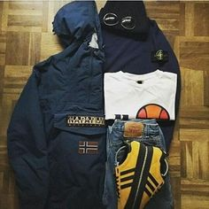 Away days - trusty Jamaicas with Napapijri, Stone Island, ellesse, C. Football Casual Clothing, Football Casuals, Casual Wear, Men Casual, Casual Styles, Stone Island Jacket, Outfit Grid, Trendy Outfits, Winter Fashion