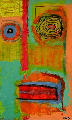 PERSONAL COLLECTION    Ghost in The Machine Hoke Outsider Abstract Raw Art Brut Painting Graffiti |