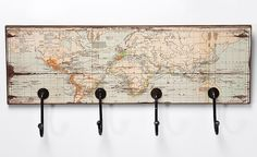 Coat Rack World Map Rectangular Wood Crafts, Diy And Crafts, Diy Vintage, Foto Transfer, Iron Furniture, Picture On Wood, Wooden Signs, Decoration, Home Deco