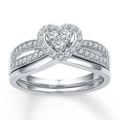 Heart Bridal Set 1/2 ct tw Diamonds 10K White Gold