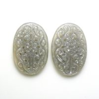 CARVED GREY MOONSTONE 26.75 CARAT OVAL 24X16X4MM