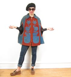 Vintage 1970s Suede Cape in Blue and Rust Red / by BasyaBerkman, $50.00