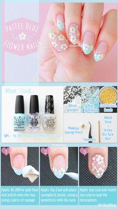 Pastel Blue Flower Nails Tutorial
