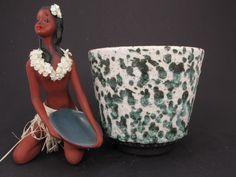 Vintage Keramik Übertopf / Fat Lava / weiß grün   West German Pottery   60er von ShabbRockRepublic auf Etsy