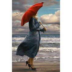 Great Big Canvas 'Red Umbrella' Paul Kelley Painting Print Format: Canvas, Size: H x W x D Umbrella Art, Under My Umbrella, Gif Chuva, Winter Gif, Paul Kelly, Painting Prints, Art Prints, Painting Art, Woman Painting