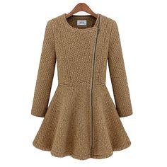 OL Style Zipper Tight Waist Woolen Coat.. So cute:)