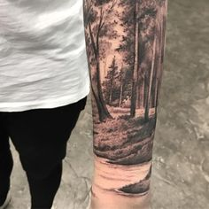 Working on a fun piece today, fell in love with the detail we chose on this river bend. Whatever name, It's still awesome! Still chipping away! Forarm Tattoos, Leg Tattoos, Black Tattoos, Body Art Tattoos, Tattoos For Guys, Cool Tattoos, Forest Tattoo Sleeve, Nature Tattoo Sleeve, Best Sleeve Tattoos