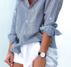 Summer shirt and rolled up shorts | The Lifestyle Edit