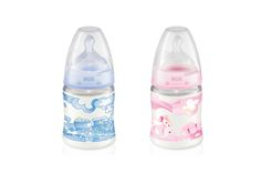 BIBERÃO FIRST CHOICE ROSE & BLUE 150 ML TETINA SILICONE #NUK. Disponível em 2 cores (azul e rosa) Drink Bottles, Latex, Water Bottle, Drinks, Blue Roses, Colors, Blue, Drinking, Water Bottles