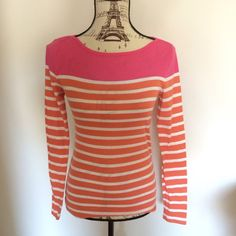 Preppy top Cute old navy orange, pink and white top. Cute for spring and summer ! Old Navy Tops