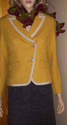 Ann Taylor LOFT petites lined wool yellow spring blazer size 8P #AnnTaylorLOFT #Blazer
