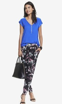 CHERRY BLOSSOM PLEATED SOFT PANT from EXPRESS