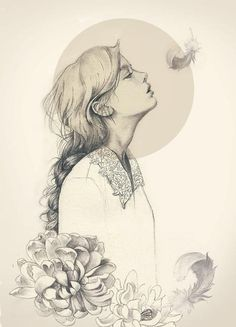 Drawing of girls with flowers fashion illustrations Ideas Art And Illustration, Art Illustrations, Fashion Illustrations, Fashion Sketches, Character Illustration, Drawing Sketches, Art Drawings, Awesome Drawings, Pencil Drawings