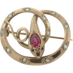 Beautiful Rare Art Deco 14K Gold Rubellite, Diamonds, Rubies Serpent Brooch