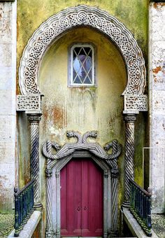 Amazing Door in Portugal. I am intrigued by the torc-like detail and what almost look like Celtic knotwork . in Portugal! Islamic Architecture, Art And Architecture, Architecture Details, Les Doors, Windows And Doors, Front Doors, Cool Doors, Unique Doors, Door Knockers