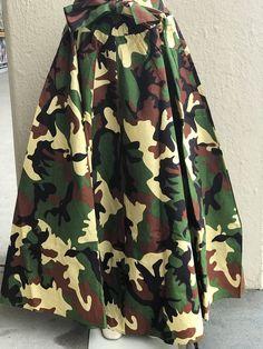 Camouflage Print FULL LENGTH Skirt (Elastic Waist w/Bow & Pockets) Maxi Skirt