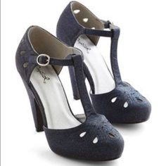 Dynamic debut heel in midnight blue modcloth Sparkly blue heels! Never worn NWOB. 8.5 ModCloth Shoes Heels