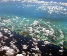 Airplane views over the Caribbean Ocean en route to St. Lucia.