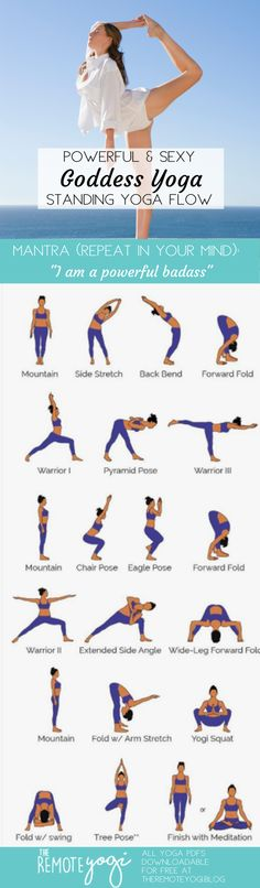 Be Powerful & Sexy Goddess Yoga ? No-Mat Yoga Printable Do you ever feel like a quick yoga class but dont have a mat? Print out this free Standing Only Yoga PDF to practice anywhere. Yoga Flow, Yoga Meditation, Yoga Routine, Yoga Sequences, Yoga Poses, Mantra, Yoga Fitness, Mat Yoga, Standing Yoga