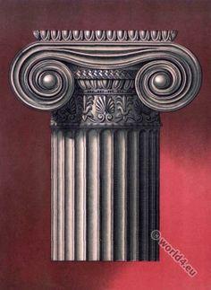 Antique Greek Art. Doric Capital in Paestum.