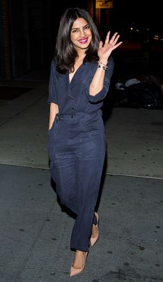 Priyanka Chopra in a navy jumpsuit and nude heels - click ahead for more celebrity summer outfit ideas!