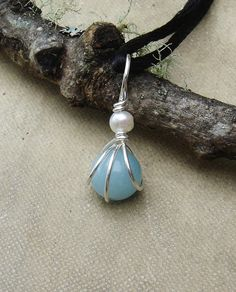 Small Amazonite and Pearl Pendant  Little by nicholasandfelice, $10.50