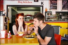 Diner inspired Engagement shoot - Ruby Jean Photography #RubyJeanPhotography #1950s #DinerEngagementShoot #OnARoll #Milkshakes&hotdogs #EngagementShoot