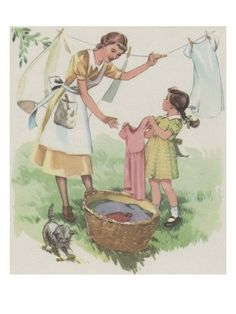 vintage Wash Day, laundry on the line Vintage Love, Vintage Prints, Vintage Art, 50s Vintage, Illustrations Vintage, Illustration Art, Vintage Pictures, Vintage Images, Vintage Housewife