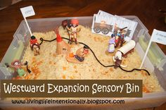 Westward Expansion Sensory Bin (from 123 Homeschool 4 Me)