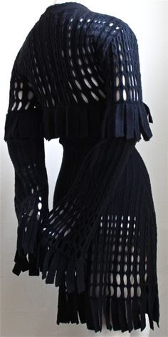 1stdibs | 1991 AZZEDINE ALAIA black and navy fringed wool dress