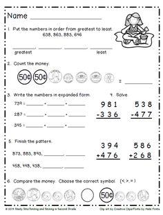 2nd grade, 3rd grade Math Worksheets: Dollars and cents | GreatSchools