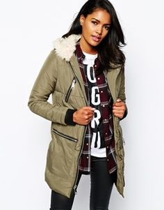 River Island Padded Parka With Shearing Hood