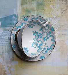 Vintage Tea Cup and Saucer, Royal Stafford Backstamp, English Bone China with Raised Blue Enameled Floral Design and Gray Lacey Design