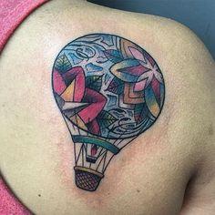 Tattoo done by @rustylloyd #tattoocloud #tattoos #borneoink #borneoinktattoos #hotairballoon