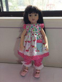 PINK flamingo 14 doll clothes pocket Maru by judysdollboutique