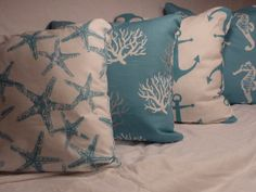 Nautical Pillow covers Set of 4  Coastal by JulieButlerCreations, $78.00