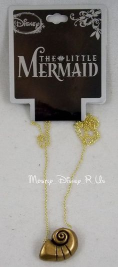 Disney The Little Mermaid Ariel's Conch Shell Pendant Necklace Gold Toned New