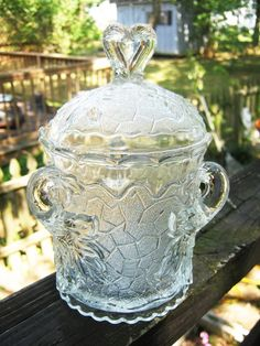 Clear Glass, Embossed Covered Candy Dish, Three Handles, Embossed Leaf Design…