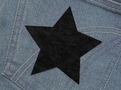 Stern (Größe L) schwarz Bügelmotiv  90mm  von Silwarin auf DaWanda.com