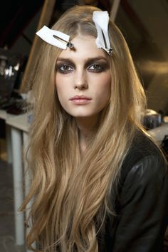 Sigrid Agren <3 backstage at ROBERTO CAVALLI FW using smoky eyes...gorgeous hair as well