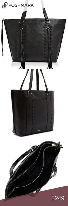 7297839ce9a3 Rebecca Minkoff Paige Leather Tote - Whipstitch trim and tassel detailing  on exterior - Dual top