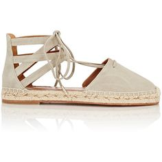 Aquazzura Belgravia Lace-Up Espadrilles ($495) ❤ liked on Polyvore featuring shoes, sandals, green, lace up espadrilles, round toe shoes, laced shoes, low heel sandals and low heel espadrille sandals