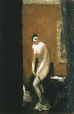 Alfons Walde - Stehender Akt beim Anziehen der Strümpfe (1920)