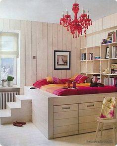 Studio Flat Inspiration. Platform bed. Underbed storage.