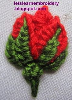 Let's learn embroidery: Rosebud-buttonhole knot 3 - This website has lots of different embroidery lessons, including a variety of ways to embroider a rose and much more.