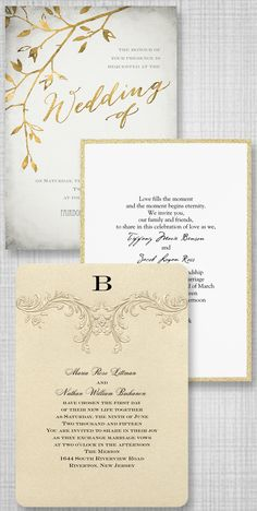 Gold wedding invitation galore! Gold foil, gold glitter, gold shimmer paper and more. From Invitations by Dawn.