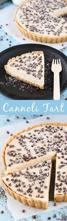 Cannoli Tart - no bake and easy to make with all the delicious flavor of a cannoli! Cannoli Tart - no bake and easy to make with all the delicious flavor of a cannoli! Beaux Desserts, No Bake Desserts, Just Desserts, Delicious Desserts, Dessert Recipes, Yummy Food, Yummy Mummy, Yummy Eats, Yummy Appetizers